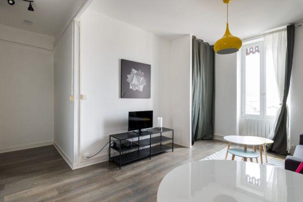 Vue sur le coin télé de l'appartement Lyon Villeurbanne
