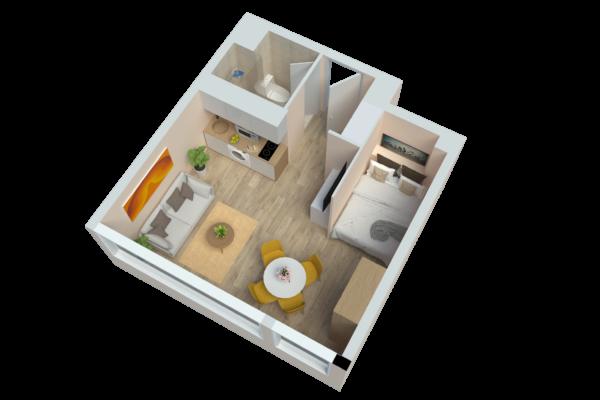 Vue 3D de l'appartement Lyon Gerland